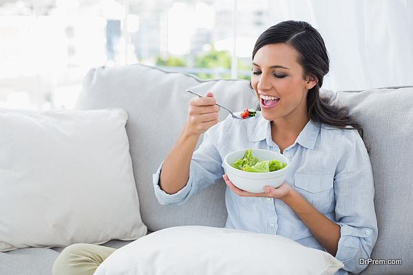 lady eating healthy food
