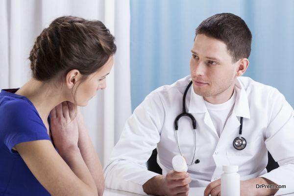 Doctor recommending medicines to patient