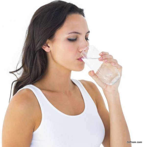 lady consuming water