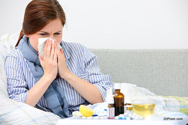 lady suffering from common cold